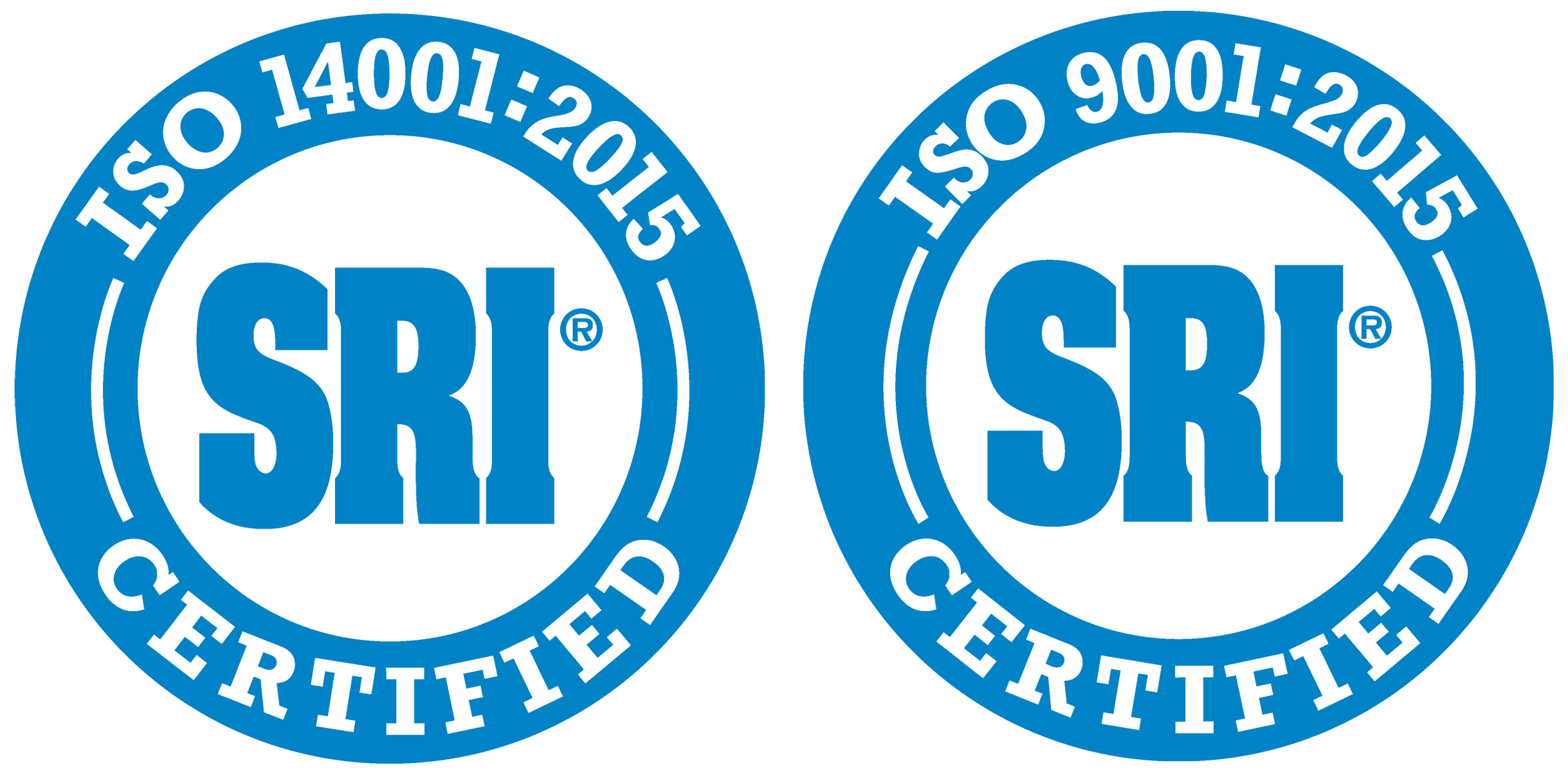 Blue SRI® circles with white ISO 14001:2015 and ISO 9001:2015 Certified text