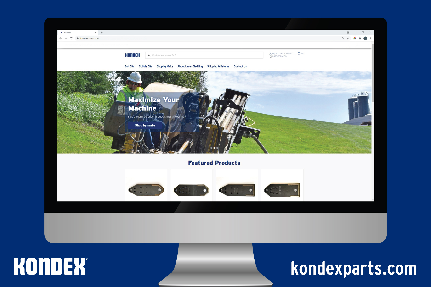 Computer monitor with kondexparts.com shown