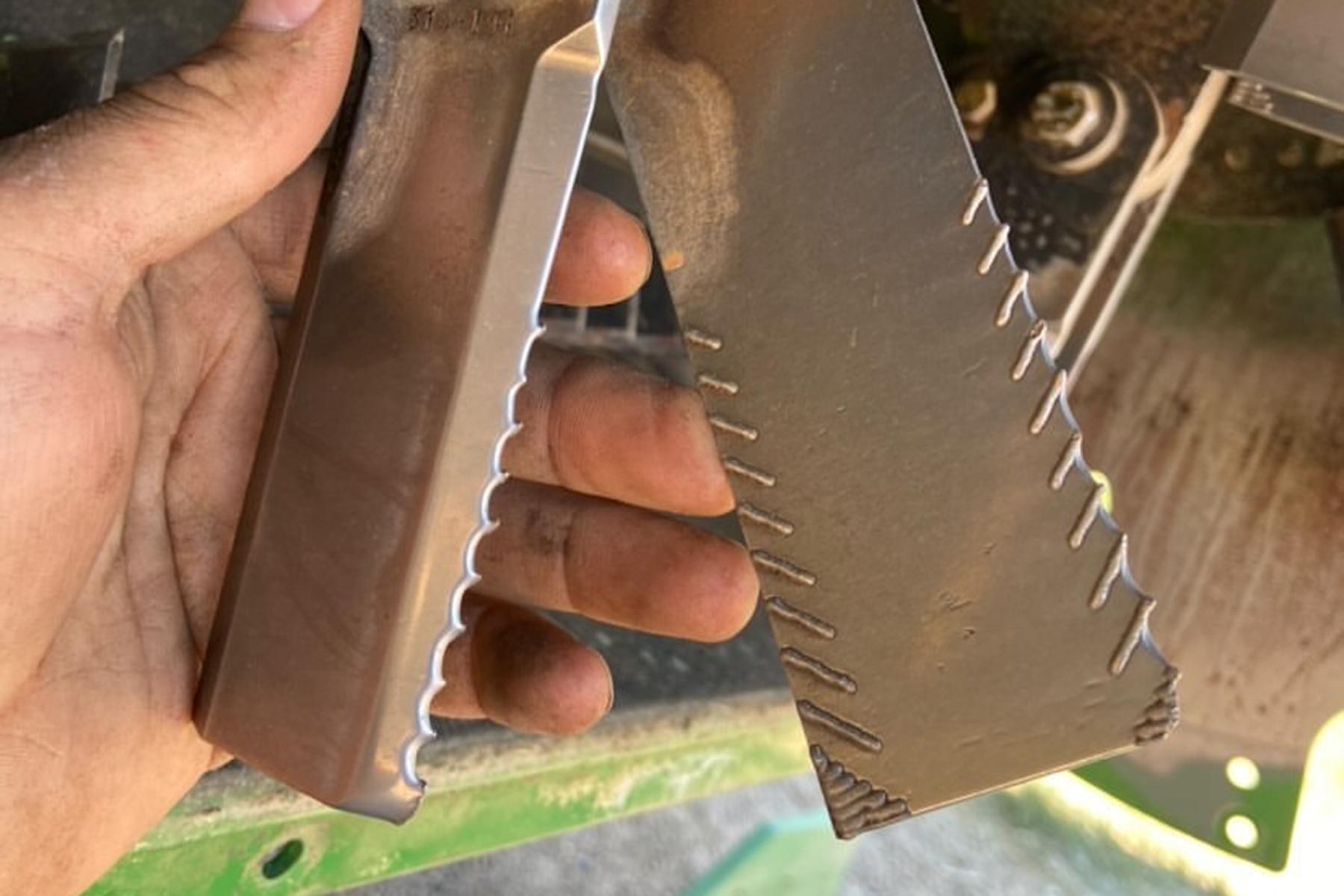 Serration pattern formed on used Straw Claw blades